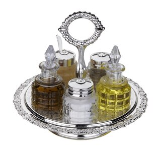 Queen Anne 6 Piece Revolving Cruet Set