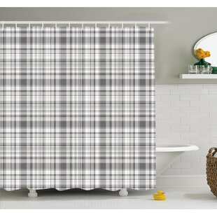 Best Price Pattern with Modified Stripes Crossed Horizontal and Vertical Lines Forming Squares  Shower Curtain Set ByAmbesonne