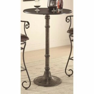 Gracie Oaks Stafford Round Metal Counter Height Pub Table