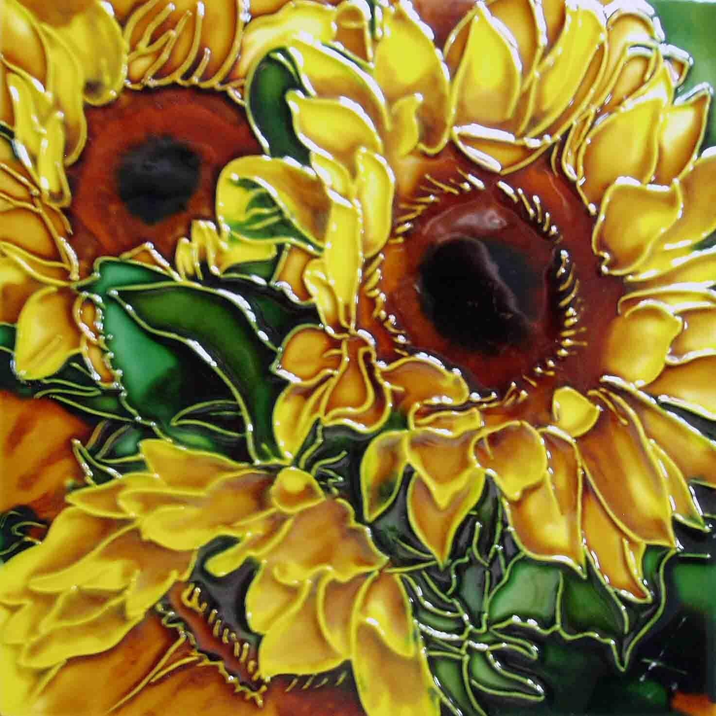 Continental Art Center Yellow Sunflower Green Leave Tile Wall Decor ...