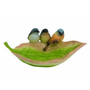 Resin Spring Leaf Shaped Birdbath By Transpac
