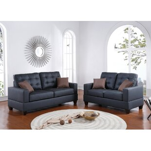 Ged 2 Piece Faux Living Room Set by Ebern Designs