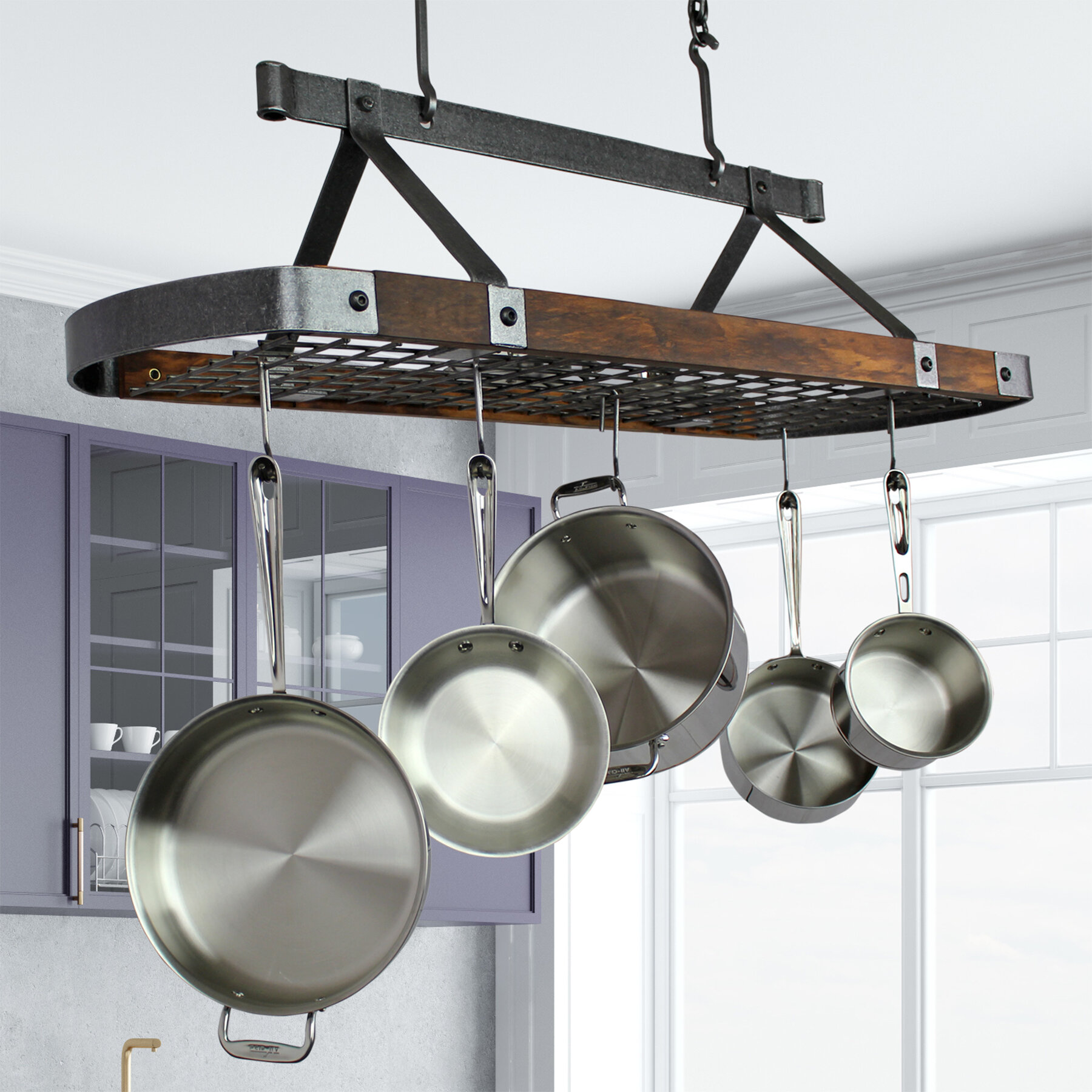 Enclume Usa Handcrafted Signature Oval Hanging Ceiling Pot Rack Reviews Wayfair