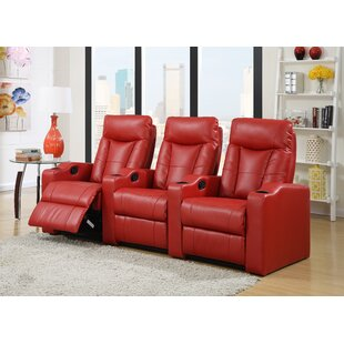 Ebern Designs 3-Piece Leather Home Theater Sofa