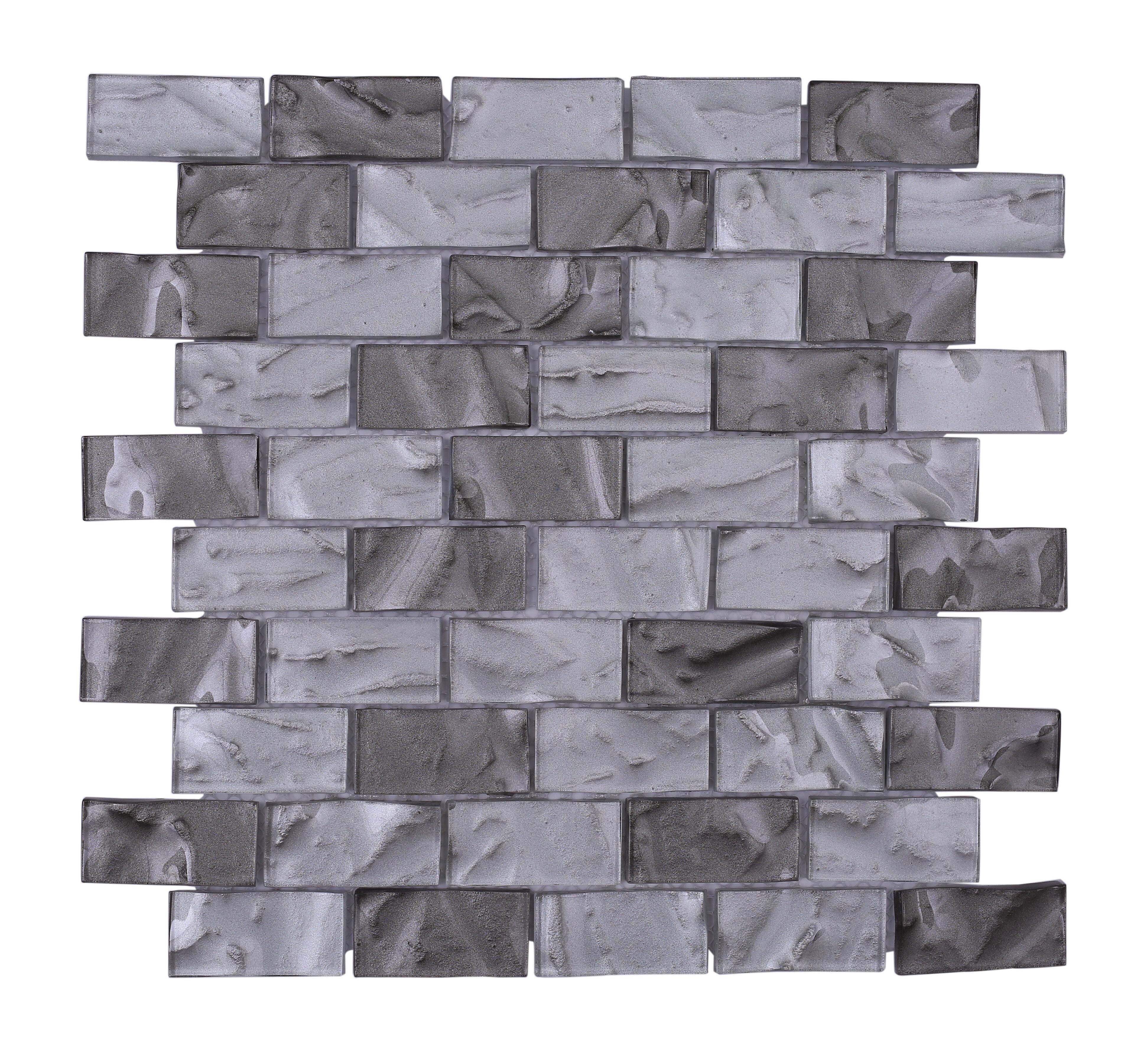Vetromani Barcelona 3d Wavy Brick 1 X 2 Glass Subway Tile In Gray