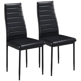 Alane Upholstered Dining Chair in Black Set of 2 by Ebern Designs