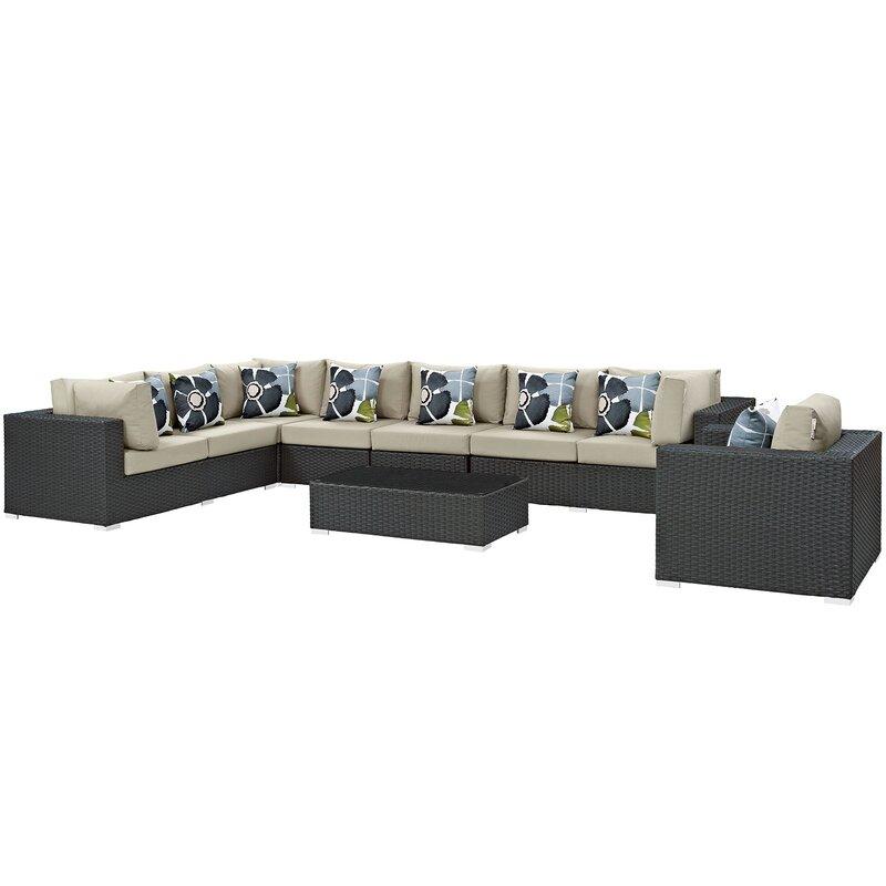 Brayden Studio Tripp 7 Piece Sunbrella Sectional Sofa with ...