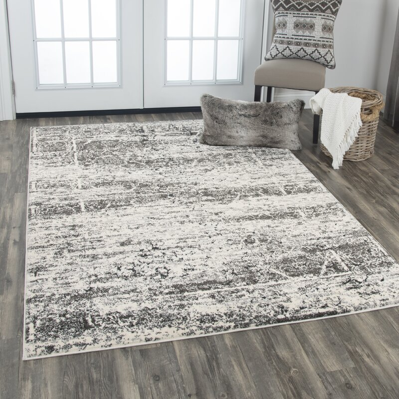 Williston Forge Barger Gray White Area Rug Reviews Wayfair Ca