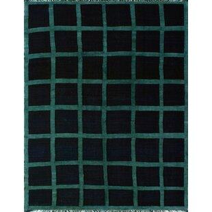 Best Reviews Anley Handwoven Wool Black Area Rug ByBrayden Studio