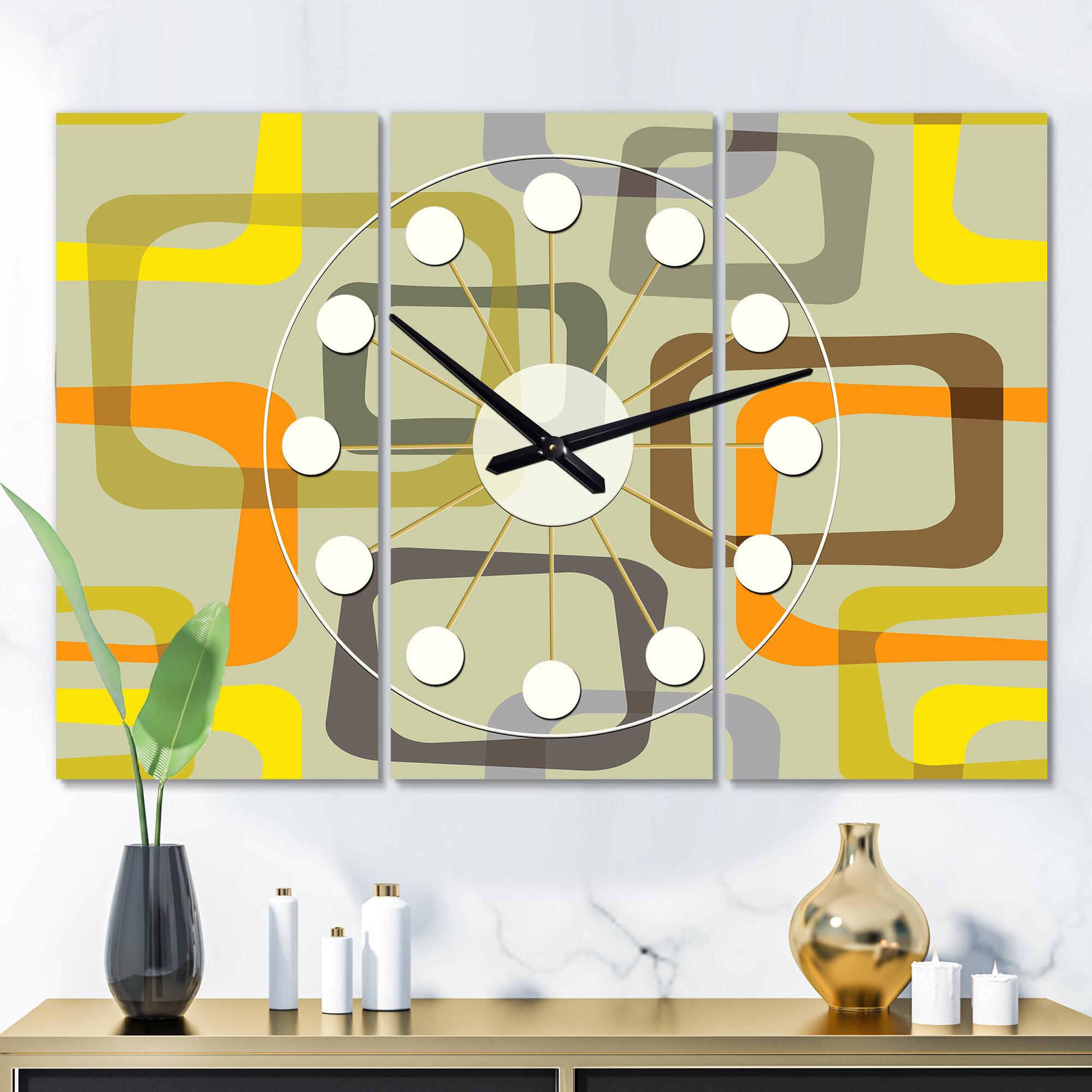 Image of: East Urban Home Oversized Retro Square Vii Mid Century Wall Clock Wayfair