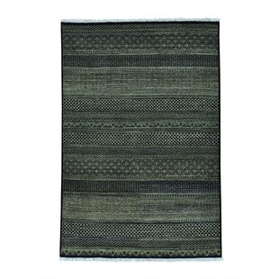 Looking for One-of-a-Kind Barahona Grass Modern Oriental Hand-Knotted Black Area Rug By Isabelline