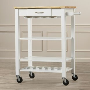 Morgandale Kitchen Cart with Butcher Block Top Alcott Hill