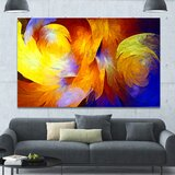 'Yellow Fractal Abstract Pattern' Graphic Art on Canvas