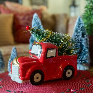24-Inch Solar Powered Light Up Metal Christmas Antique Car With Tree Decoration