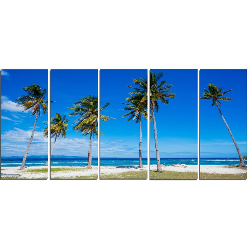 Highland Dunes Palms On Philippines Tropical Beach 5 Piece Wall Art On Wrapped Canvas Set Wayfair