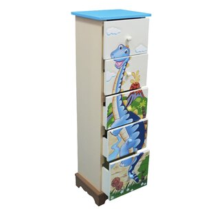 Dinosaur 5 Drawer Chest of Drawers by Fantasy Fields Teamson