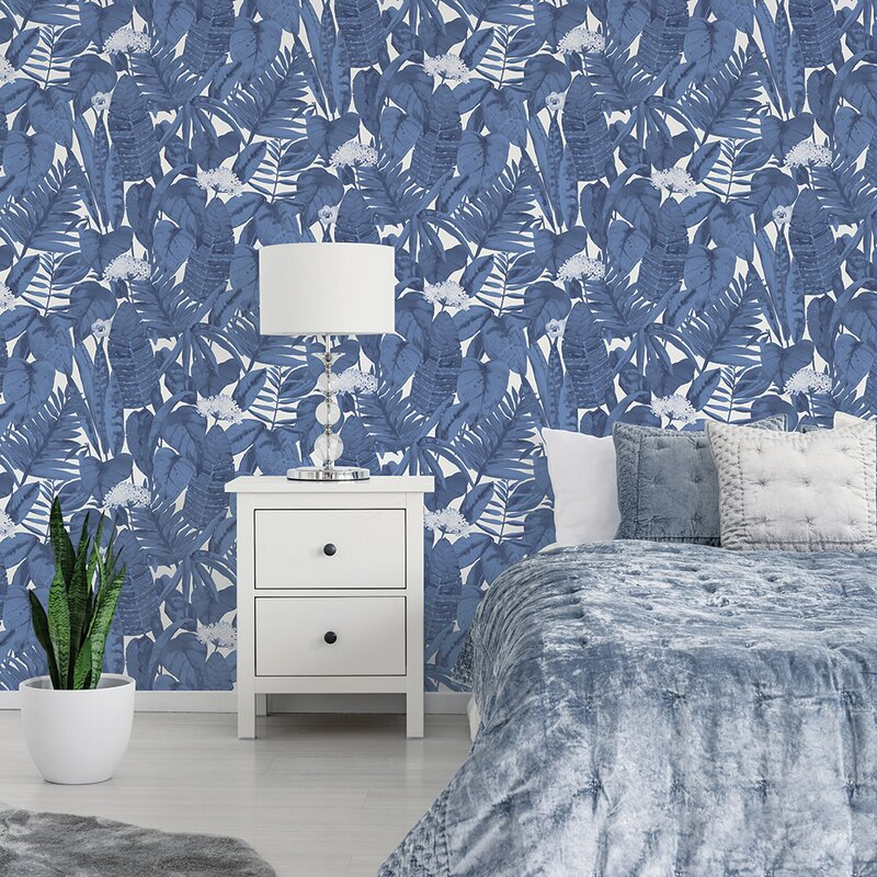 Waloo Tropical Jungle 16 5 L X 20 5 W Smooth Peel And Stick Wallpaper Roll Reviews Allmodern