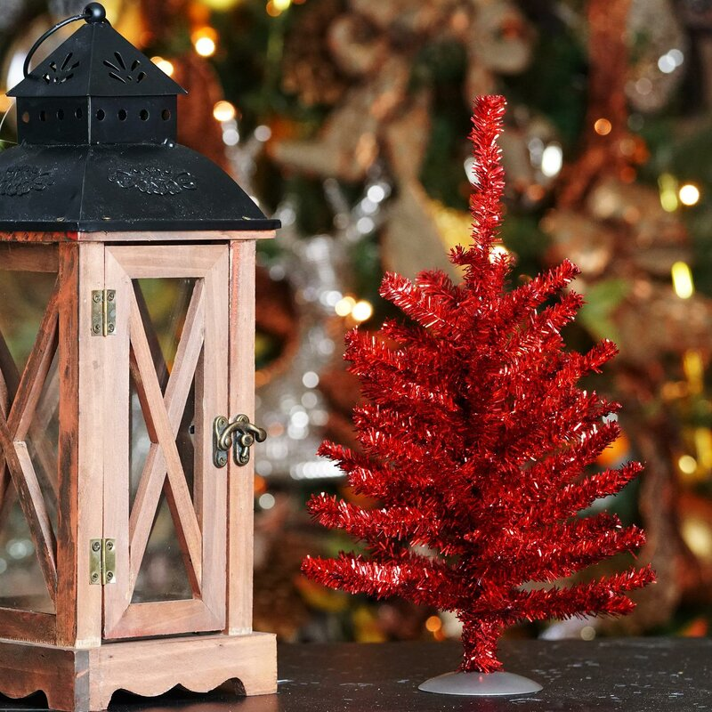 retro sparkling 12 red tinsel artificial christmas tree with stand - Christmas Tree Tinsel