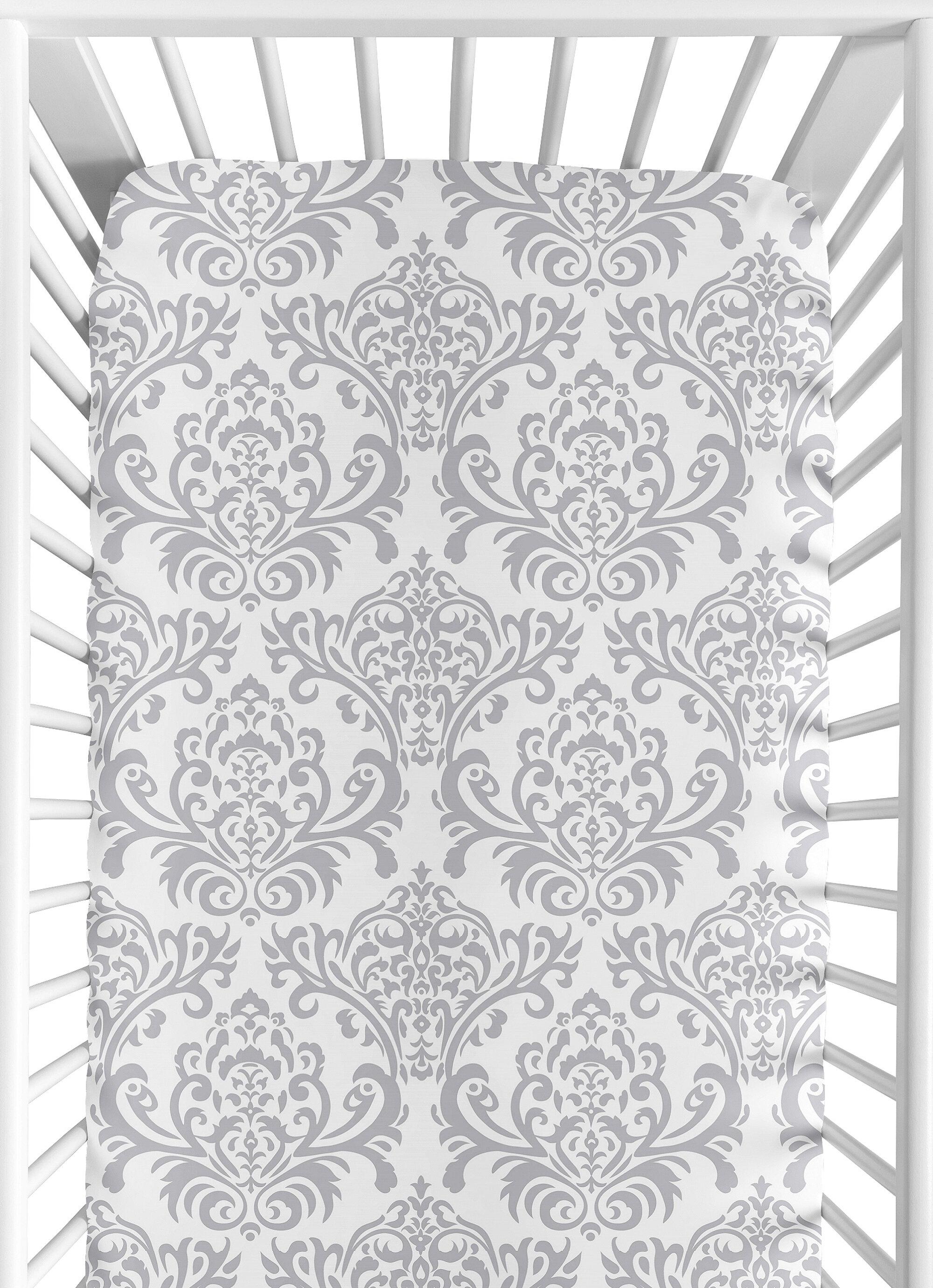 100/% Cotton Sateen Floral Design Grey Damask Fitted Crib Toddler Sheet