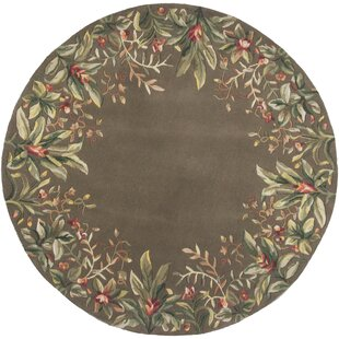 Marion Taupe Tropical Border Area Rug by Bay Isle Home