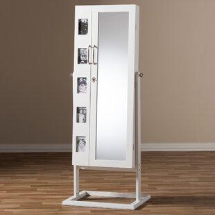 Latitude Run Alcala Wood Floor Standing Double Door Jewelry Armoire with Mirror