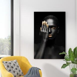 Glasbild Schwarzgold, Fotodruck