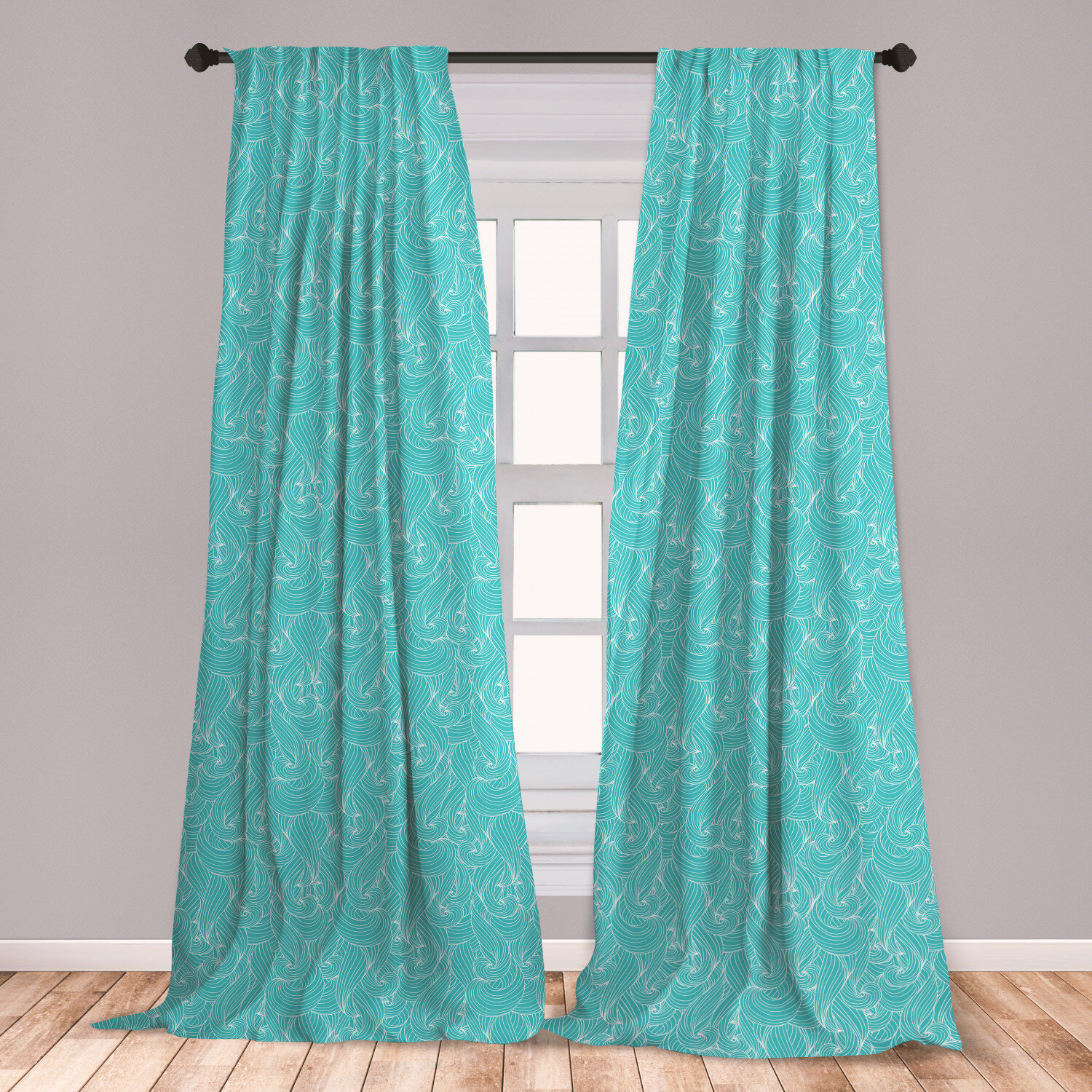 Turquoise Blackout Outdoor Patio Curtain Liner Retro Vintage 60s 50s Inspired Geometric Polka Dots Romantic Art Print Waterproof Fabric White and Light Blue W54 x L63 Inch