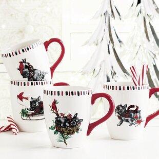 Emelia Dog Cardinal 4 Piece Coffee Mug Set