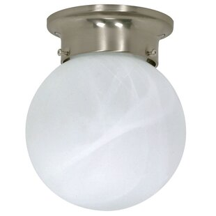 Winston Porter Ithomitis 1-Light Flush Mount in Brushed Nickel