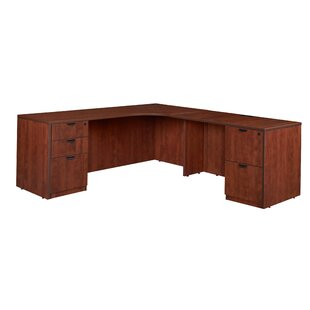 Linh Double Full Pedestal Right Corner Credenza L-Shape Executive Desk