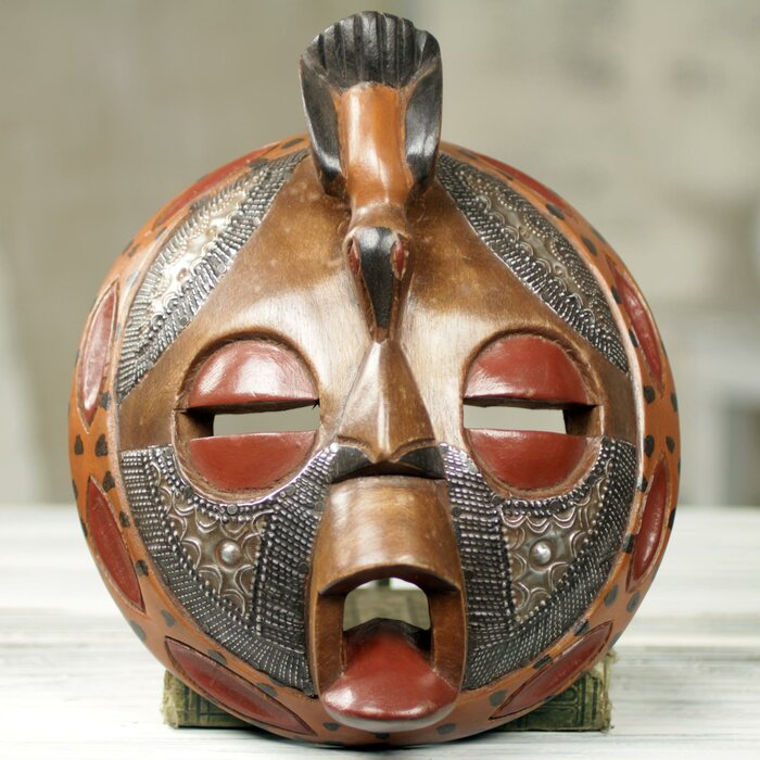 Victor Dushie Circular Hand Crafted And Painted West African Mask Wall Decor