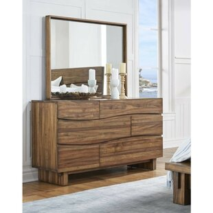 Boyden Wave Front Wooden 3 Drawer Double Dresser