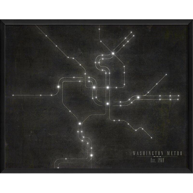 Washington Metro Subway Map.The Artwork Factory Washington Metro Subway Map Framed Graphic Art