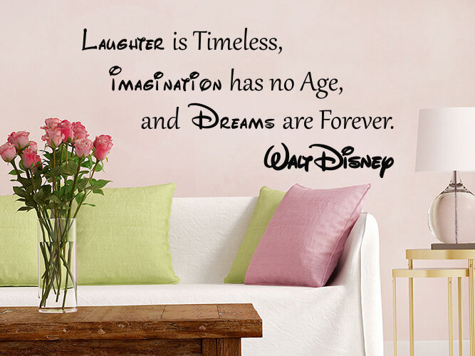 Decal House Quote Mickey Mouse Vinyl Sticker Laughter is Timeless Nursery Wall Decal | Wayfair & Decal House Quote Mickey Mouse Vinyl Sticker Laughter is Timeless ...
