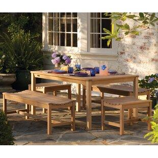 Beachcrest Home Harpersfield 5 Piece Shorea Wood Dining Set