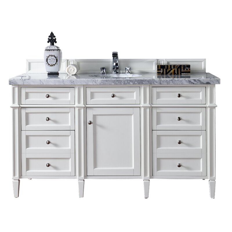 James Martin Furniture Brittany 60 Single Cottage White Bathroom Vanity Set Perigold