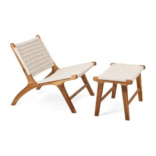 Mccrory Woven Teak Lounge Chair and Ottoman