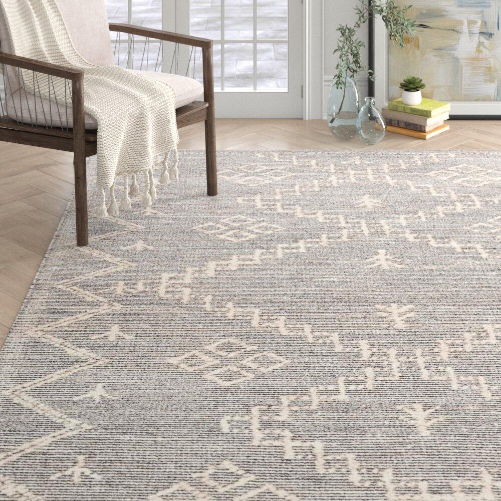Kiana Geometric Handmade Tufted Gray Area Rug Reviews Joss Main