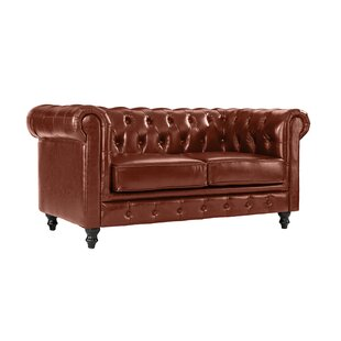 Wesleyville Leather Chesterfield Loveseat by Charlton Home