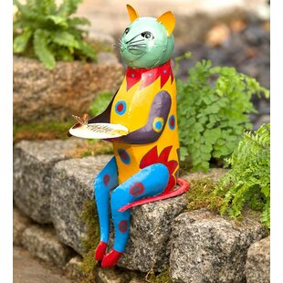 Wind & Weather Colorful Metal Cat Statue