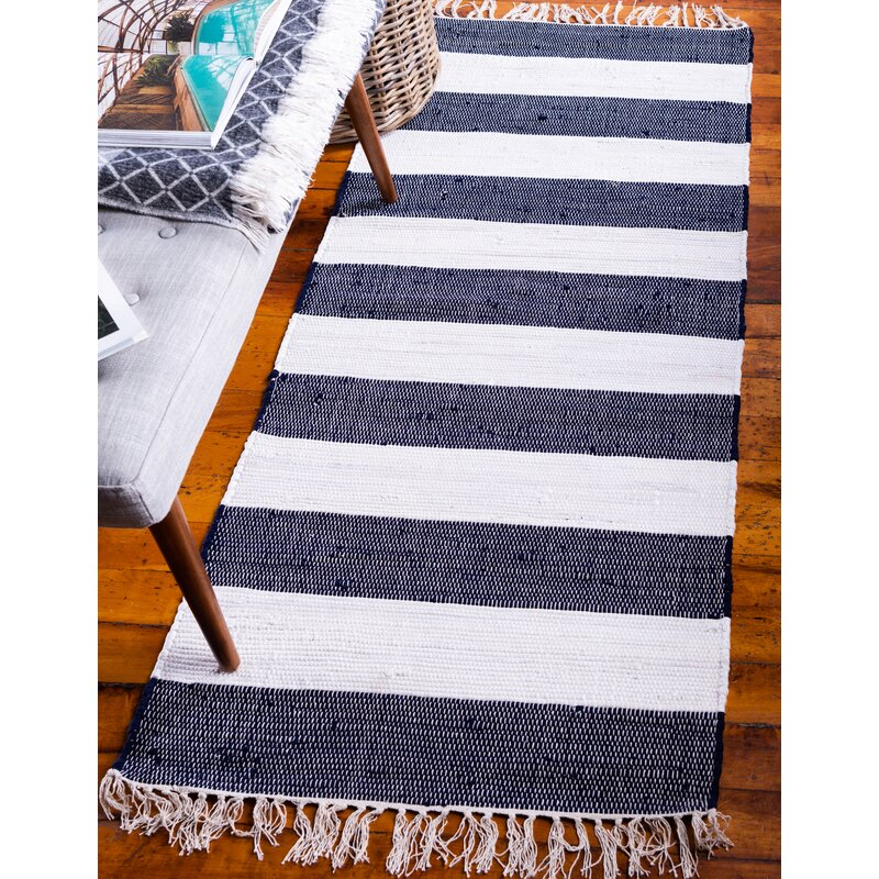 Breakwater Bay Maxwell Chindi Rag Hand Knotted Cotton Navy Blue Area Rug Reviews Wayfair