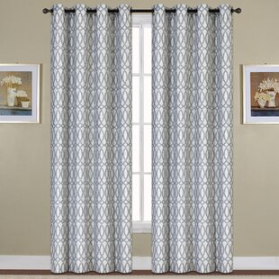 Oakland Geometric Semi Sheer Grommet Single Curtain Panel