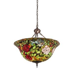 Victorian Tiffany Rosebush 3-Light Inverted Pendant