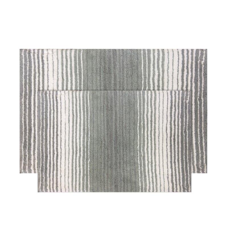 Ebern Designs Griffing Rectangle 100 Cotton Non Slip Striped Piece Bath Rug Set Reviews Wayfair