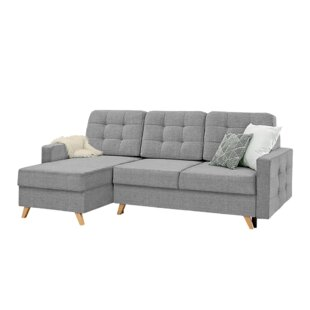 Velvet Reversible Corner Sofa Bed By Selsey Living