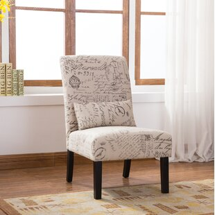 Pisano English Letter Print Fabric Armless Contemporary Slipper Chair By Roundhill Furniture