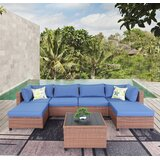 Chelon 7 Piece Rattan Sectional Seating Group with Cushions by Latitude Run®