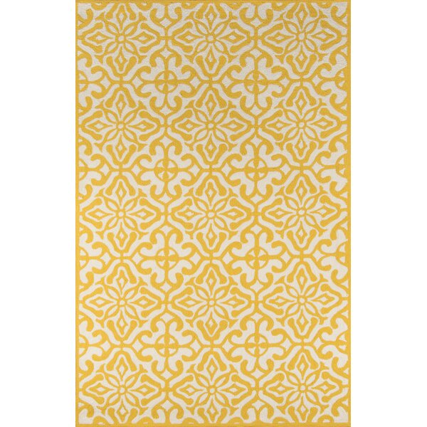 St James Hand Hooked Yellow White Indoor Outdoor Area Rug