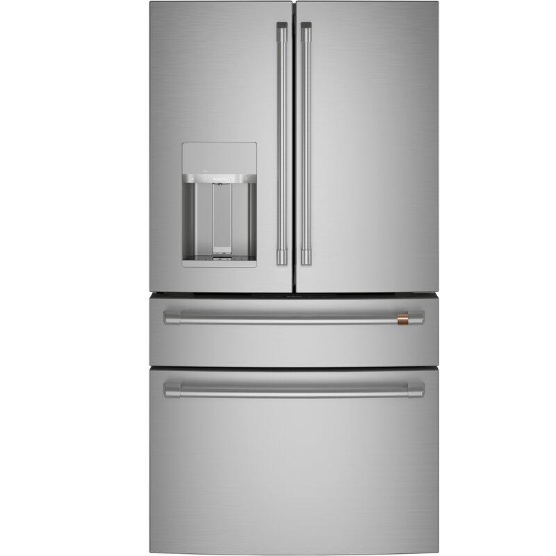 Ft Matte White And Brushed Bronze 4-Door French Door Refrigerator Cafe 27.6 Cu
