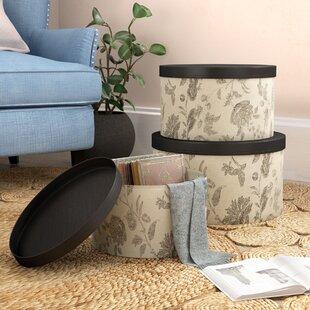 3 Piece Beige Hat Box Set with Faux Leather Lids c617ef203698